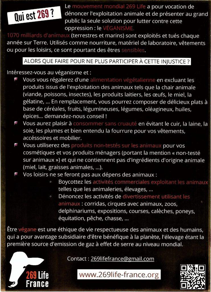 Verso du tract 269 Life France distribué à Paris au Salon de l'Agriculture 2017