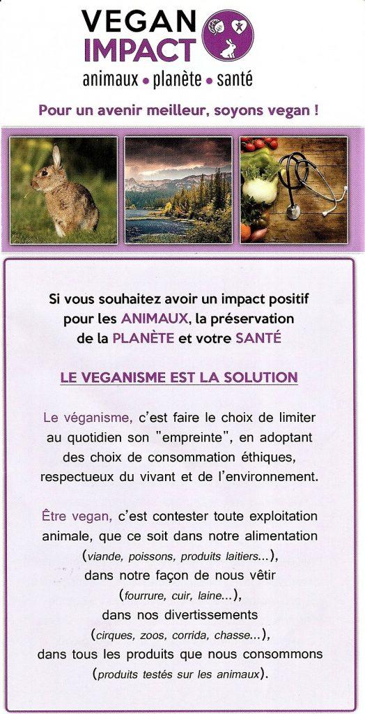 Volet 1 du tract Vegan Impact distribué à Paris au Salon de l'Agriculture 2017